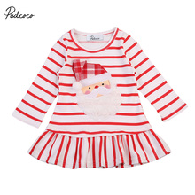 New 2017 Baby Girls Christmas Santa Claus Little Girls Cute Casual Long Sleeve Striped Ruffle One Piece Dress(China)