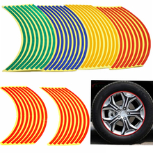 "16 Strips Bike Car Motorcycle Wheel Tire Reflective Rim Stickers And Decals Decoration Stickers 18"" 4 Color Car Styling New(China)"
