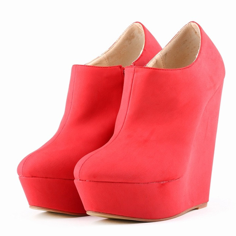 autumn spring womens platform nubuck leather faux suede flock velvet ankle boots platform wedge high heel plus size 40 41 42<br><br>Aliexpress