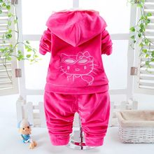 2pcs Kids Suit Children  Hello Kitty Tracksuits Clothing Set Baby Girls Boys warm Velvet Thicken Hooded Jacket Sweatshirts Pants