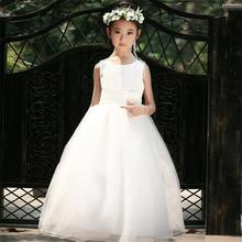 Flower Girl Wedding Dress Kids Events Party Wear Tulle Long Teen Girl Evening Dress Children's Costume For Girl Ceremony 3-12Yrs