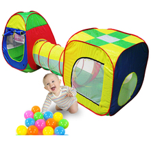 children's tent Baby Playing House Cubby-Tube-Teepee 3pc Pop-up Play Tent Tunnel House Toy Ocean inflatable tent Balls pool Toy(China)