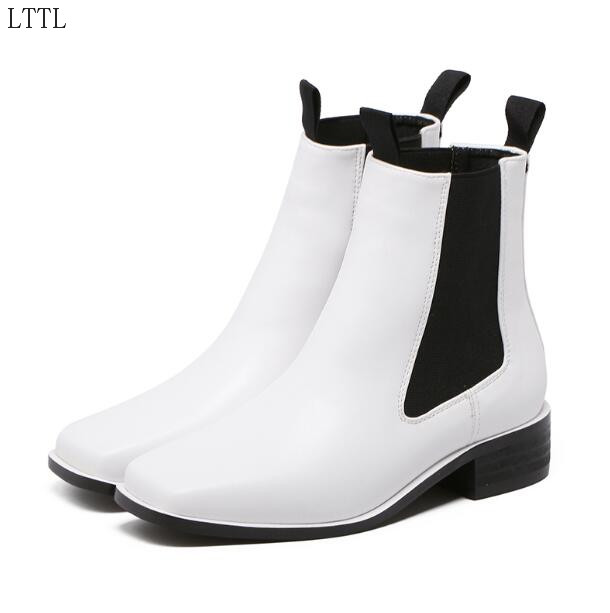 Concise Solid Black/White Spring/Autumn Dress/Casual Lady Shoe Square Toe Square Heel Women Ankle Boot Zip Free Ship Size9 Mujer<br><br>Aliexpress