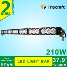 IP68 Curving Bent 38 inch 210W white amber Led lighting bar Off road with 10W American chips warning light truck led alarm light