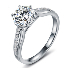 Certified 1 Carat Forever One Moissanite Engagement Ring Women Solid 18K Pure White Gold with Natural Diamonds Accent Gift