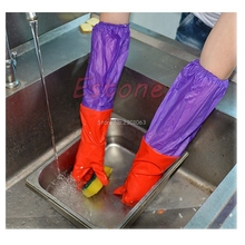 Waterproof Kitchen Household Warm Dishwashing Glove Water Dust Stop Cleaning Rubber Latex Gloves H06