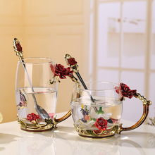 301-400ml Fashion chrysanthemum Set enamel glass Drinking glass cup Lead-free glass In stock Custom gift wholesale business gift(China)