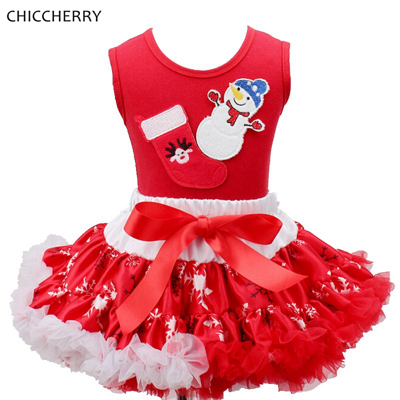 Snowman Christmas Kids Clothes Sleeveless Children Girls Lace Petti Skirts Top Set Velement Fille New Year Toddler Girl Clothing<br><br>Aliexpress