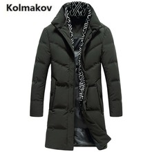 KOLMAKOV 2017 new winter high quality men's fashion Scarf collar warm down jacket long parkas,90% white duck down coat men.M-3XL(China)