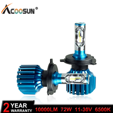 AcooSun H4 H7 Led H11 9005 9006 H3 Car LED Headlight Bulbs 72W 10000LM Flip LED Chips Automible Headlamp Front Lights 6500K 12V(China)
