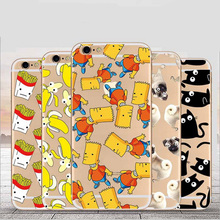 Pattern Drawing Ice Cream Cloud Cats Dogs Banana Back Cover Phone Cases For iPhone Protective Shell 5 5s SE 6 6s Plus TPU