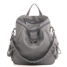 Women Rivet Backpack Multifunction School Bags For Teenage Girls Female  Travel Rucksack Crossbody bag Leather Casual 14a529cd5179a