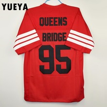 "YUEYA ""Prodigy"" Movie Jerseys #95 Queens Bridge Hennessy American Football Jersey Mens Cheap Red S-3XL"