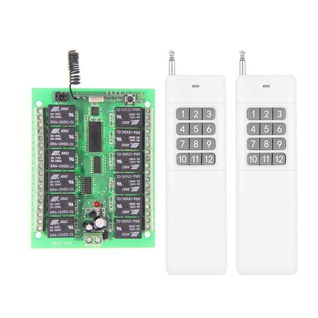 3000M DC12V 24V 12 CH 12CH Radio Controller RF Wireless Remote Control Switch System,315/433 Mhz, 2 X Transmitters + Receiver<br><br>Aliexpress