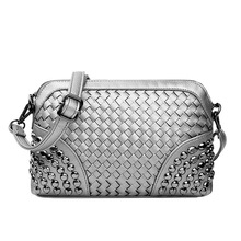 Knitting Messenger Bag Women Famous Brand Silver Hand Bags Mini Gold Day Clutch Ladies Black Leather Beach Shoulder Bag XA93H