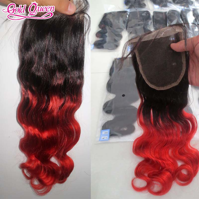 grade 7a 4x4 two tone lace closure piece #1bT#red ombre malaysian body wave human hair lace closures with baby hair free ship<br><br>Aliexpress