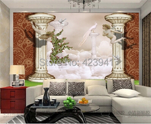 Can be customized large mural 3D Europe type restoring ancient ways pillar corridor angel myth home art wallpaper wall sticker