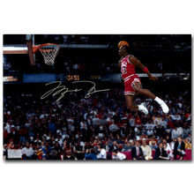 NICOLESHENTING Michael Jordan Dunks Basketball Art Silk Fabric Poster Print Sports Picture for Room Wall Decoration 059(China)