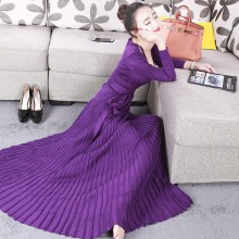 Buy womens dresses new arrival 2018 black / burgundy / purple knitted dress sexy deep v neck tie belt long sleeve pleated maxi dress for $37.70 in AliExpress store