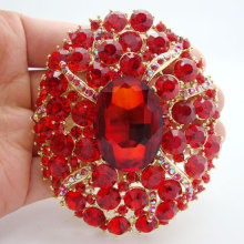 Free Shipping Beautiful red crystal rhinestones oval gilded Art Deco brooch pins Can be used as wedding jewelry