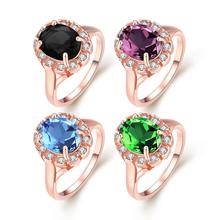 Fashion rose gold color ring with Austrian crystal  beautiful queen jewelry surprise Christmas gift top-quality hot