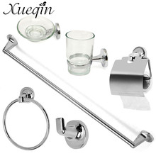 Xueqin Bath Hardware Sets Home Bathroom Toilet Satinless Steel Chrome 6 Accessory Set WC Roll Holder Soap Toothbrush Towel Hook(China)