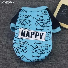 2017 Blue Pet Puppy Apparel Clothes Dog Sweatshirt Pullover Coat Print Pattern dogs life Jacket Pet Small Dog Cat Costume Outfit