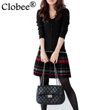 sobretudo feminino 2017 Autumn and winter knitted dress long-sleeve Plus size clothing Warm wool stripe pleated dress CP105