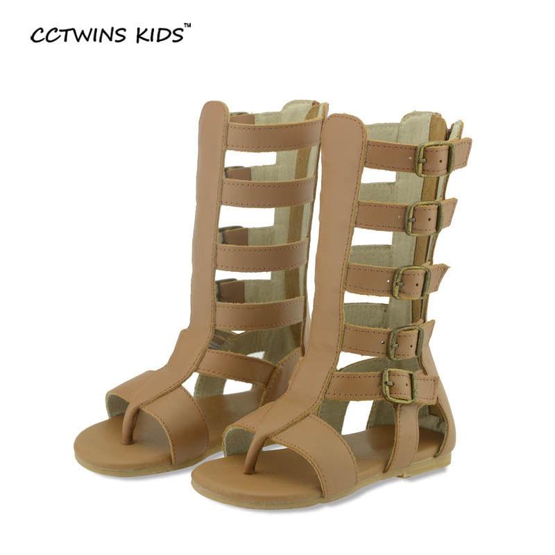 CCTWINS KIDS girls sandal children knee high gladiator sandal baby summer sandal for girl children real leather boot sandal B156<br>