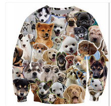 2 style! 3d animal sweatshirt  print many dog head crewneck hoodies women/men 3D funny hoodies cute streetwear hip hop coat tops