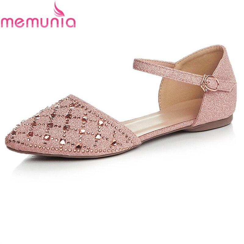 MEMUNIA new arrive women flat shoes rhinestone fashion spring comfortable pointed toe single shoes big size 34-42<br>