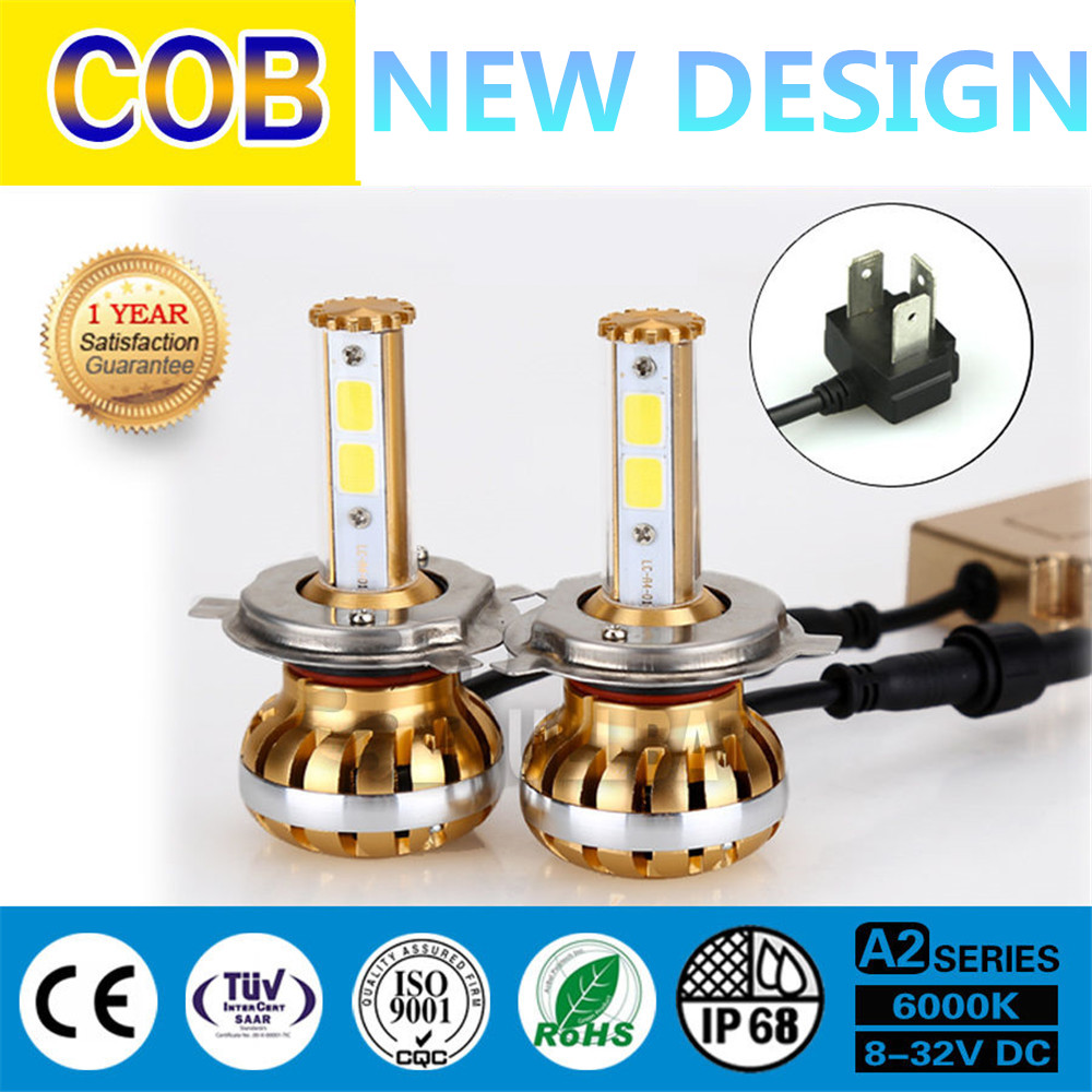 Brightest Dual beam upgrade kit LED Headlight 6000k 60W 4900LM H4/HB2/9003 Bulb COB Fog lamp DRL With Color temperature tube kit<br>