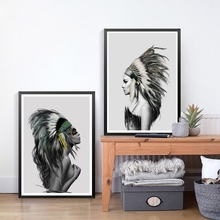 Beauty Art Canvas Painting Native American Indian Girl Feathered Poster Wall Picture Modern Home Wall Art Decor Print(China)