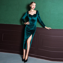 High quality velvet green vintage spring autumn winter office work dress dinner party dress casual dress long sleeve long dress(China)