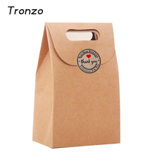 Tronzo 12pcs/set Christmas Party Gift Box With Lovely Sticker Kraft Paper Candy Bag Wedding Decoration Party Favors 10.6*15.5CM