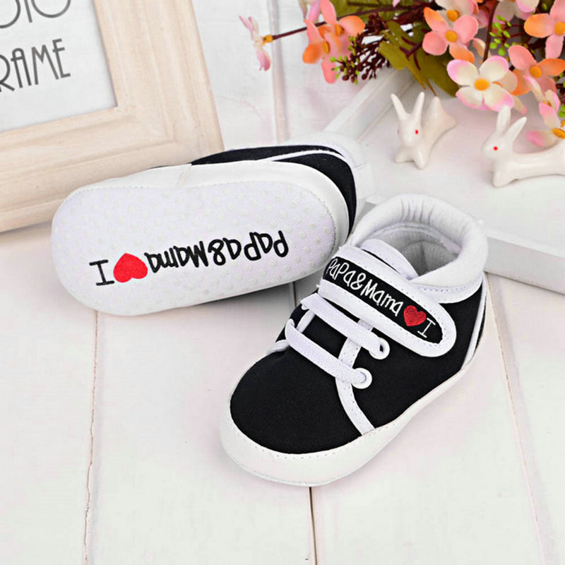Kids Baby I Love Papa/Mama Printed Crib Casual Shoes Canvas Sneaker 3 Colors <br><br>Aliexpress