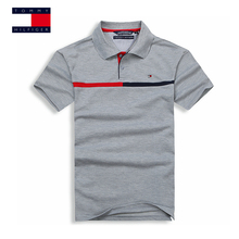 TOMMY HILFIGER fashion 7 colors Small stripes classic pure color polo shirt for man