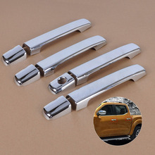 #beler High Quality Chrome Door Handle Cover Trim Sticker for Nissan Navara Frontier D40 4 door 2005 2006 2007 2008 2009