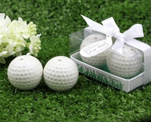 FREE SHIPPING(15sets/Lot)+Ceramic Golf Ball Salt and Pepper Shakers Wedding Favors&Party Giveaway For Guest