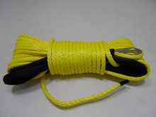 Yellow ATV synthetic winch rope 8mm*30m,UHMWPE rope,amsteel blue winch rope