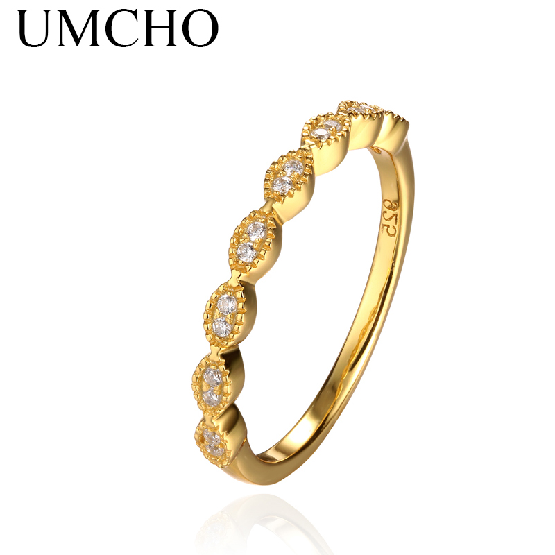 UMCHO infinity Rings Engagement Yellow Gold Color Solid 925 Sterling Silver Rings For Women Forever Love Wedding Gift Jewelry(China (Mainland))