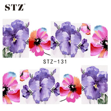 STZ 1sheets Purple and Red Printing Nail Art Image Stickers Nail Decals Water Transfer Full Wraps Foils Beauty Care Tools STZ131