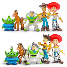 5pcs Toy Story Woody Buzz Lightyear PVC Action Figures Keychains Jessie hearts Anime Figurines Dolls Kids Toys for Boys Girls