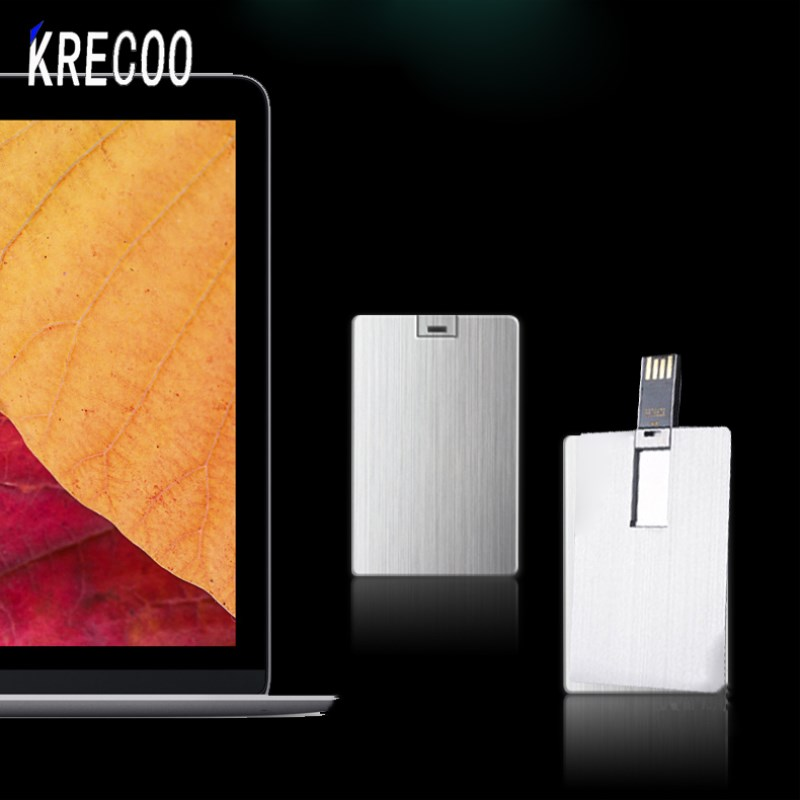 2017 Original KRECOO Waterproof USB Flash Drive Pen Drive 4GB 16GB Metal Card Shape Memory Stick pendrive 32GB 64GB(China)