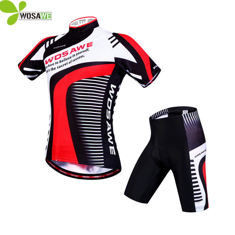 WOSAWE Racing Team Cycling Jersey Short Sleeve Sport Suit 4D Padded Mtb Bike Bicycle Jersey Cycling Clothing Sets