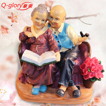 Figures Miniature Garden Resin Crafts Grandma statuettes for home decoration accessories Terrarium Figurines Wedding Gifts(China)