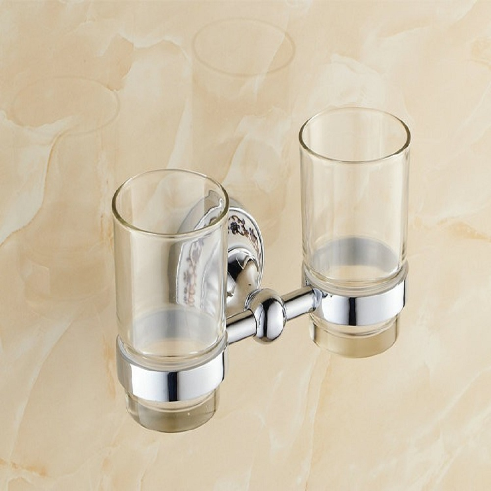 AUSWIND Ceramic Polished Toothbrush Holder Luxury Silver Cup-shelf Wall Mounted Bathroom Accessories Set<br>