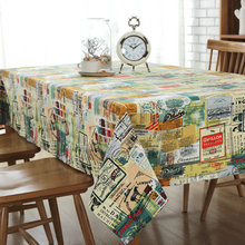 Retro Literary Colorful Home Tea Table Cloth Cotton Linen Rectangular tablecloth Wedding Party Banquet Decoration Table Cover