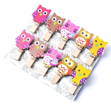 10Pcs/Pack Mini owl Wooden Clothes Photo Paper Peg Pin Clothespin Craft Postcard Clips Home wedding Decoration With Rope