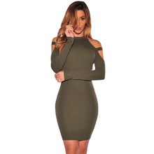 New 2017 Winter Women Off Shoulder Stripe Army Green Long Sleeve Bandage Bodycon Dress Sexy Night Club Wear Party Dresses